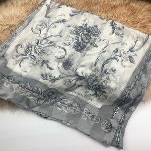 Pierre Balmain Scarf Shawl Silk Floral Gray Silver